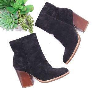 Kork Ease Block Heel Black Suede Ankle Boots 6.5